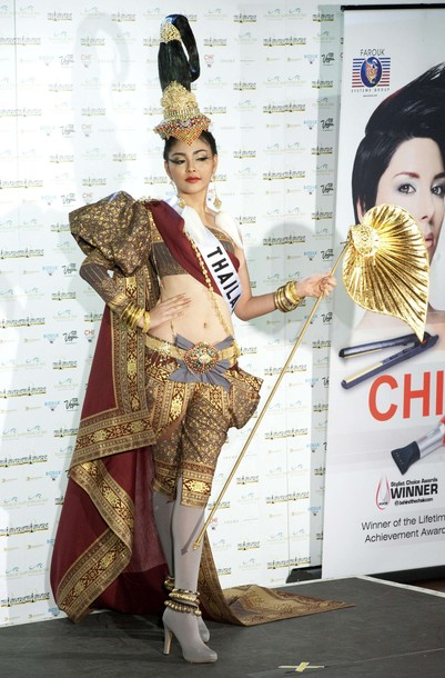 Miss Thailand Fonthip Watcharatrakul poses in her national costume at the Mandalay Bay Resort and Casino in Las Vegas